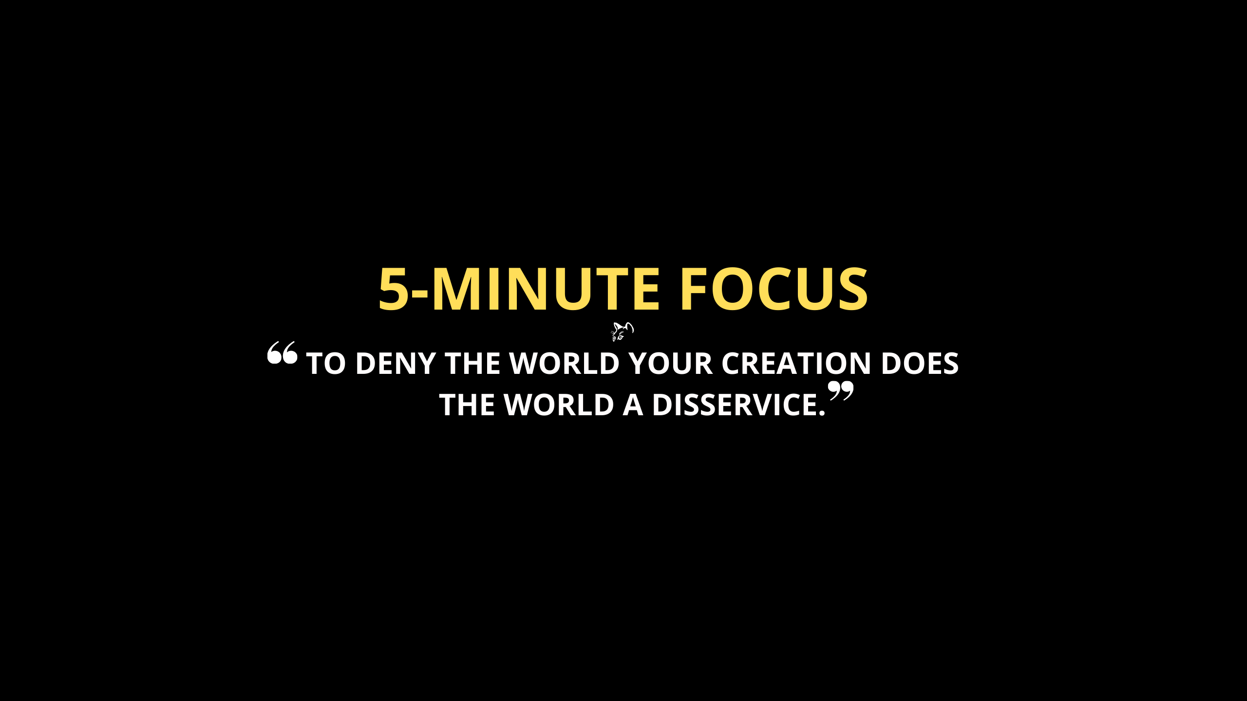 5-Minute Focus is a series of short videos of techniques you can use so that you can be more focused and creative - Mike The Biz Guy